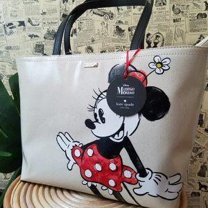 Kate Spade Francis White Cream Tote Minnie Mouse